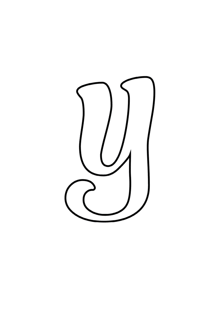 Printable Cursive Bubble Letter Y