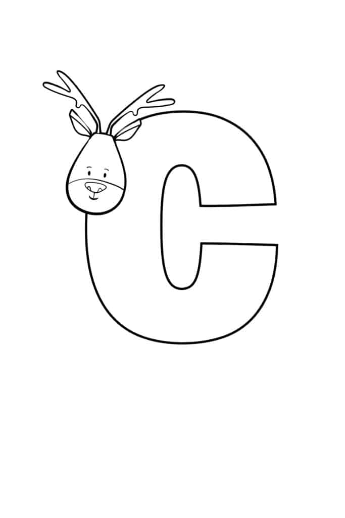 free printable cute bubble letter C