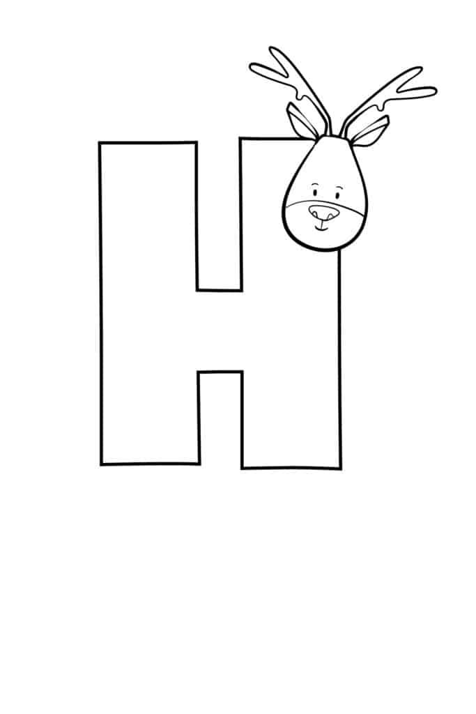 Printable Cute Bubble Letter H