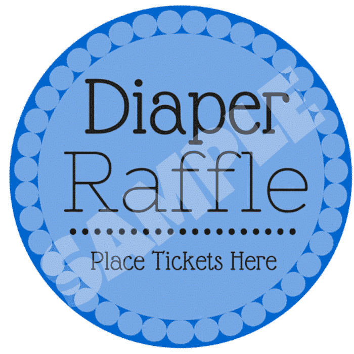 This blue free diaper raffle printable is another great option for a boy's baby shower.