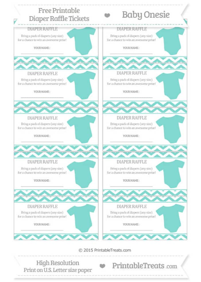 If you're throwing a baby shower for a baby boy, opt for this free downloadable diaper raffle tickets with a blue-green onesie.