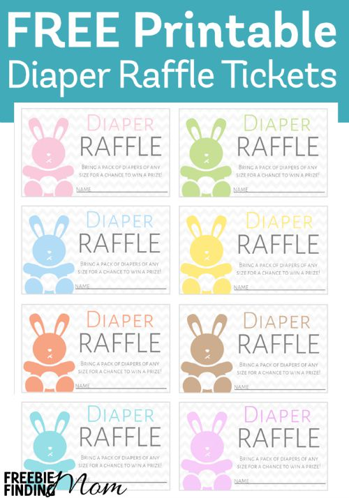 This adorable bunny diaper raffle tickets printable works for a baby shower for any gender!