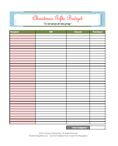 This Christmas shopping blank budget sheet will make sure you don't break the bank this holiday season or forget anyone!