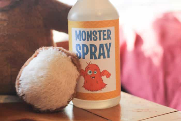 A spray bottle with the monster label attached is sure to make your little one feel secure at night!