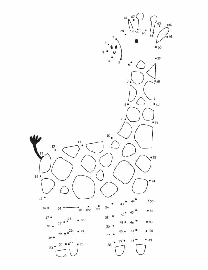 This free connect the dots printable of a giraffe is more than just a fun activity; it's also a great educational exercise!