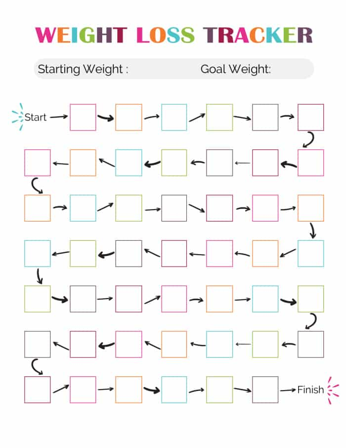 free cute weight loss tracker printable
