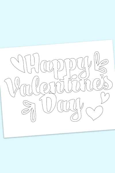 free Happy Valentine's Day in bubble letters printable
