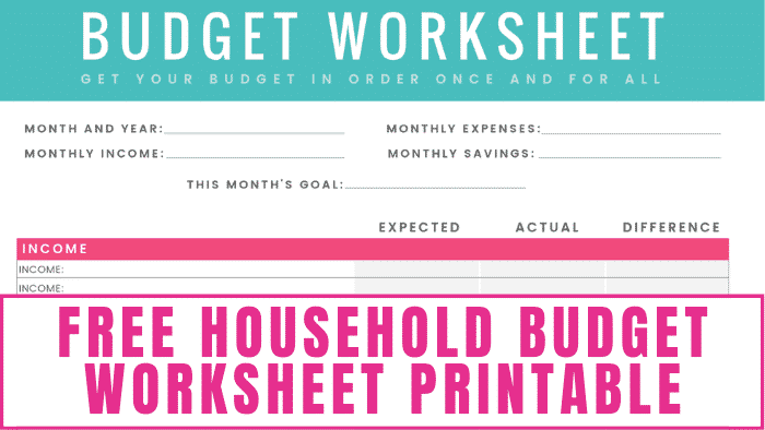 Use this free household budget worksheet PDF or Excel printable to help your family realize all of their financial dreams!