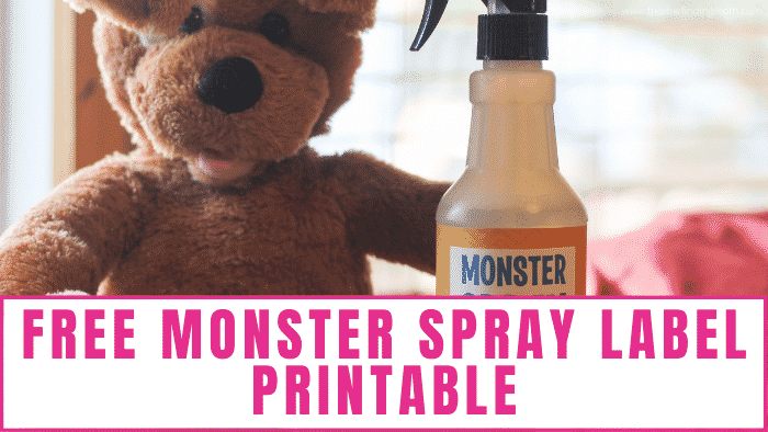 Monsters begone with this free monster spray label printable and 2 ingredient monster repellent recipe!
