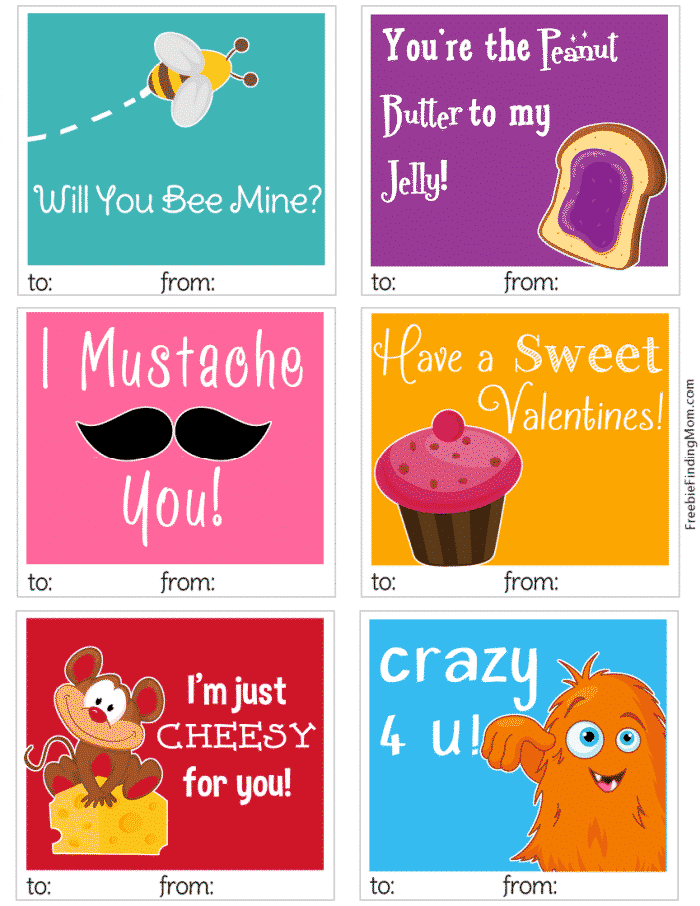 These fun free printable Valentine cards are sure to brighten someone's day. They make great lunchbox notes for Valentine's Day.