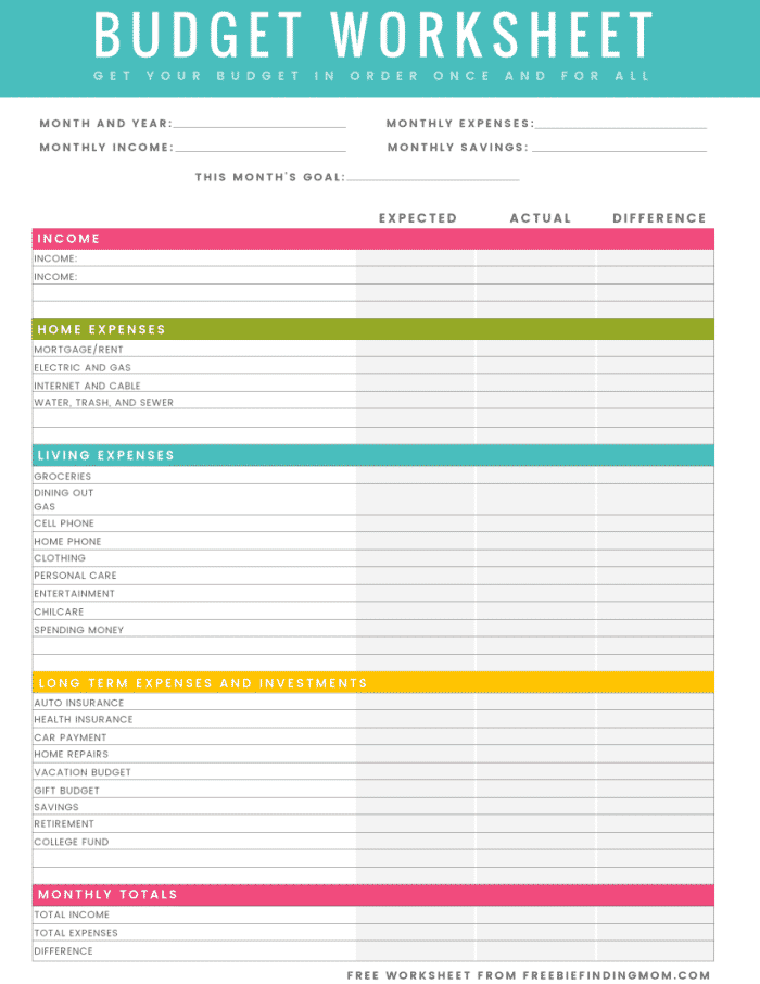 These free printable budget sheets PDF and Excel files are great for both novice budgeters and the experienced saver!