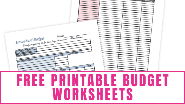 Choose from free printable budget worksheets for household expenses, Christmas shopping, and event planning!