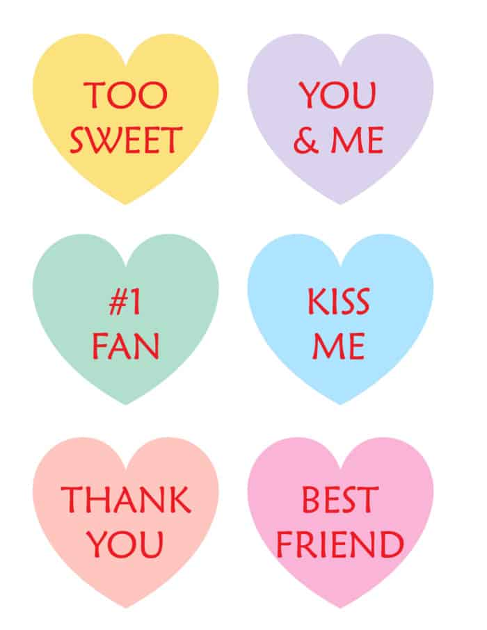 These printable candy hearts are a calorie-free way to sweeten someone's day!