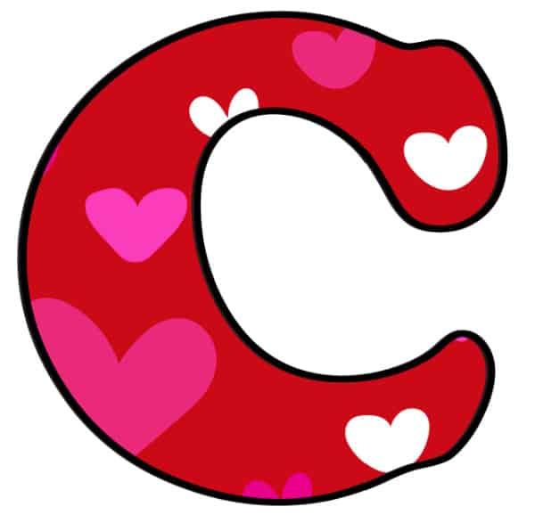 Free Printable Colorful Bubble Letters Valentine Bubble Letter C