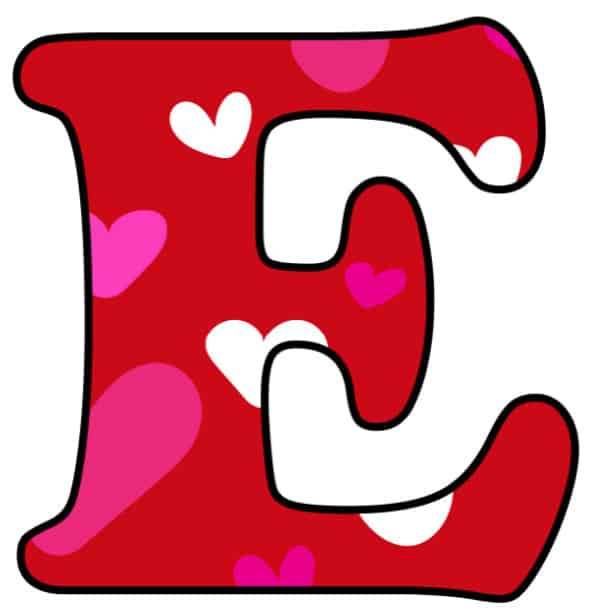 Free Printable Colorful Bubble Letters Valentine Bubble Letter E