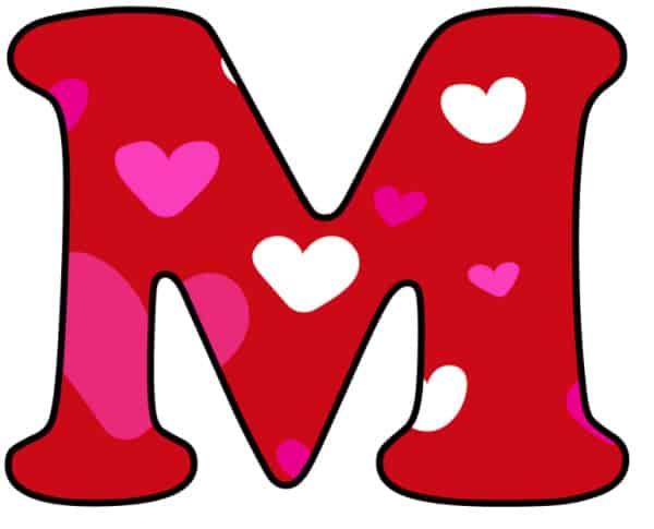 Free Printable Colorful Bubble Letters Valentine Bubble Letter M