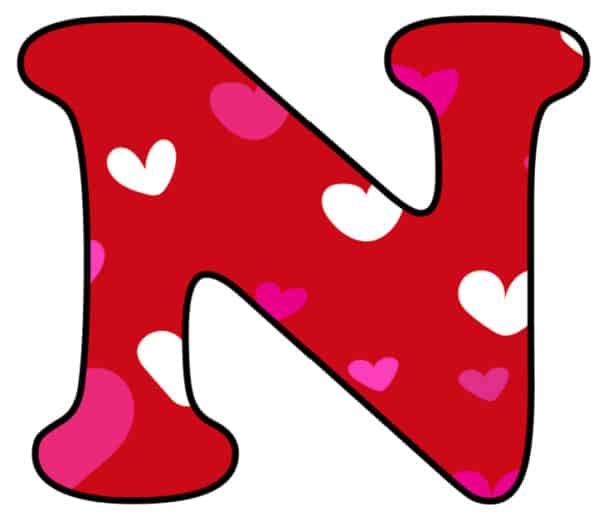 Free Printable Colorful Bubble Letters Valentine Bubble Letter N