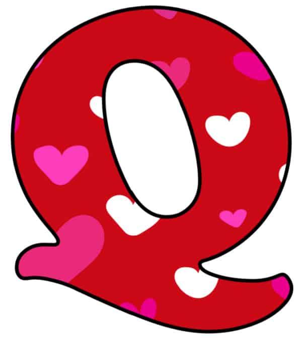 Free Printable Colorful Bubble Letters Valentine Bubble Letter Q