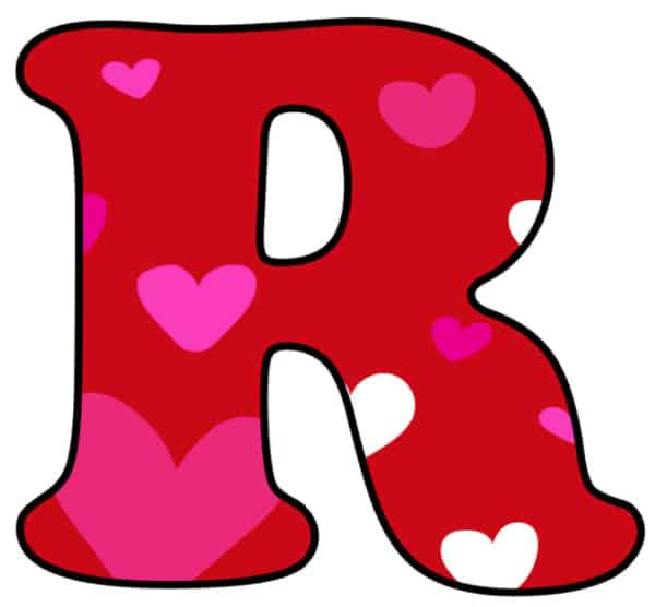 Free Printable Colorful Bubble Letters Valentine Bubble Letter R