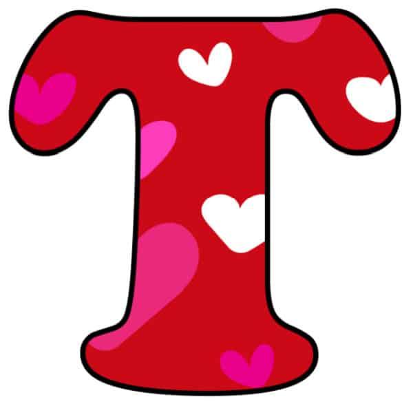 Free Printable Colorful Bubble Letters Valentine Bubble Letter T