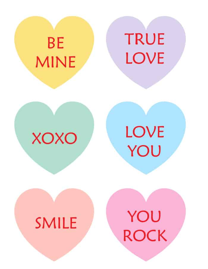 These free printable conversation hearts can be used to make a Valentine's Day banner, given to someone special, or used to decorate a home or classroom.
