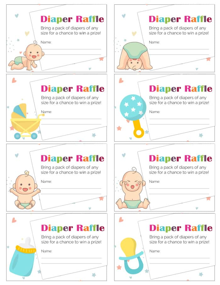 These cute free printable diaper raffle tickets are perfect if you don't know your child's gender. Guests will be excited to receive these adorable tickets.