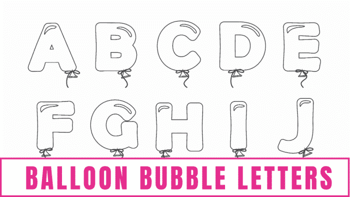 free printable letter templates of balloon bubble letters