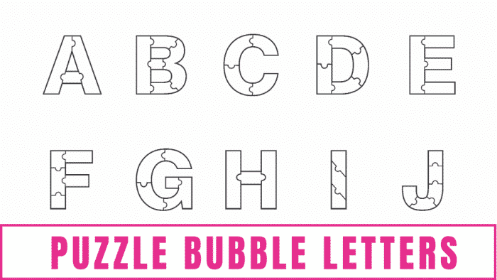 free printable letters of puzzle bubble letters