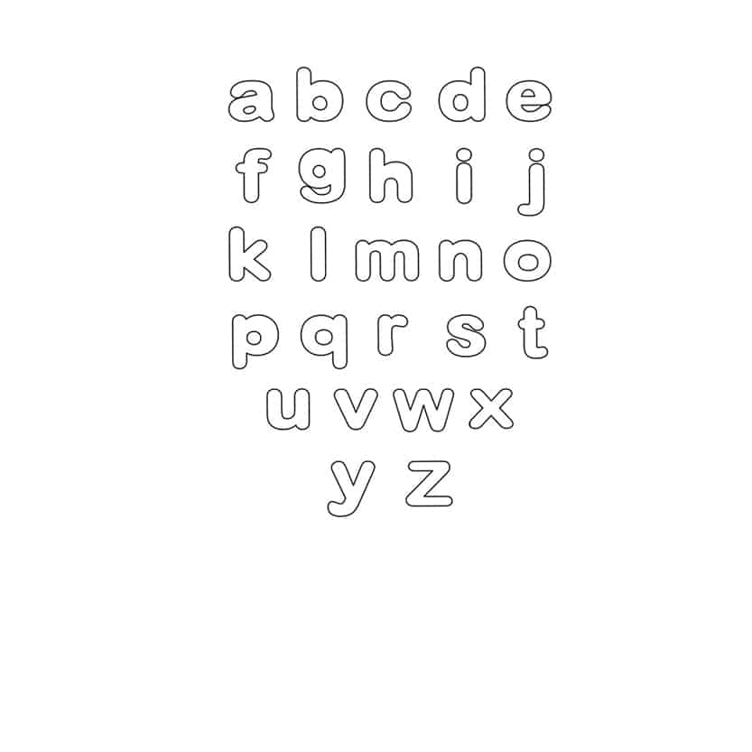 free printable lowercase bubble letters set