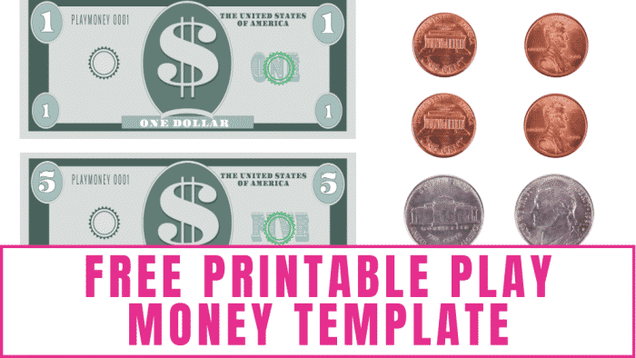 This free printable play money template has both fun and educational uses including helping your kids learn to count money.