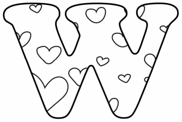 Free Printable Valentine Bubble Letters Bubble Letter W