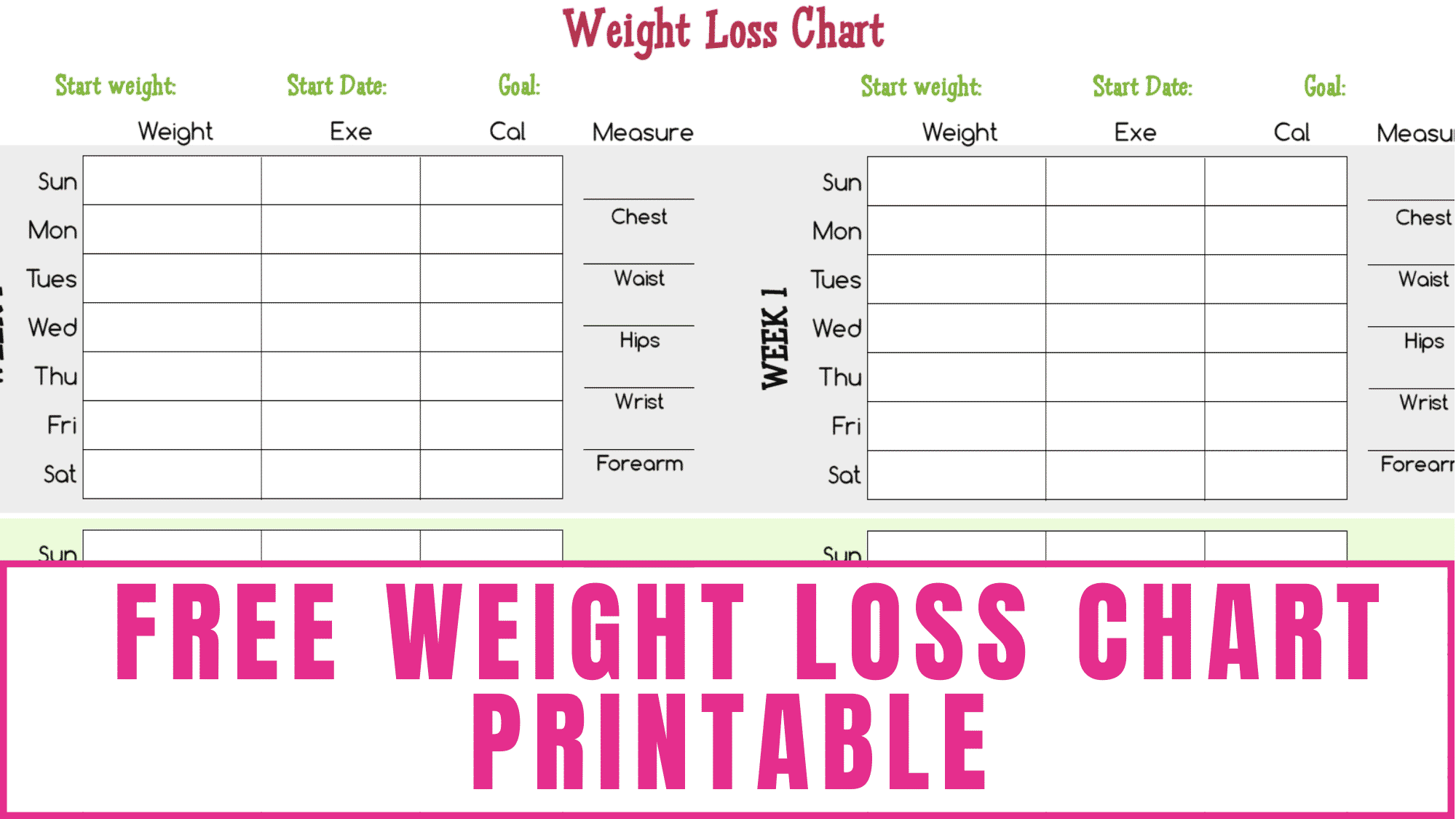 Use this free weight loss chart printable to hold yourself accountable and celebrate your successes during your fitness quest