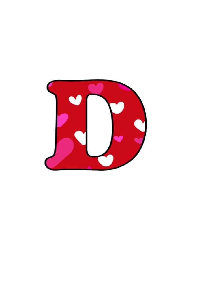 Free Printable Colorful Bubble Letters Valentine Bubble Letter D
