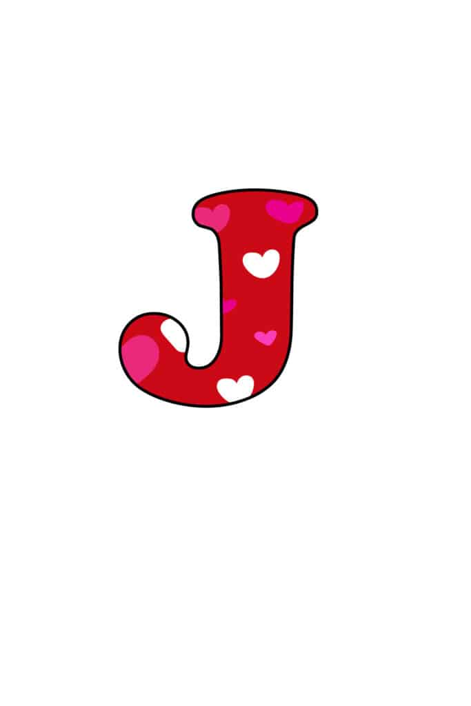 Free Printable Colorful Bubble Letters Valentine Bubble Letter J
