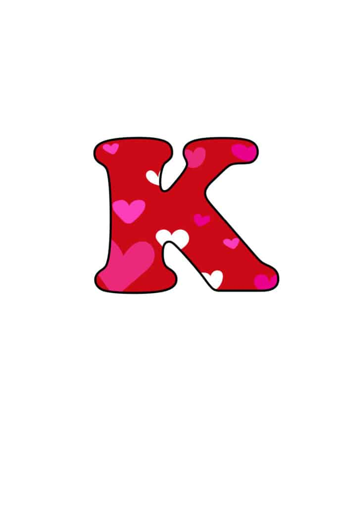 Free Printable Colorful Bubble Letters Valentine Bubble Letter K