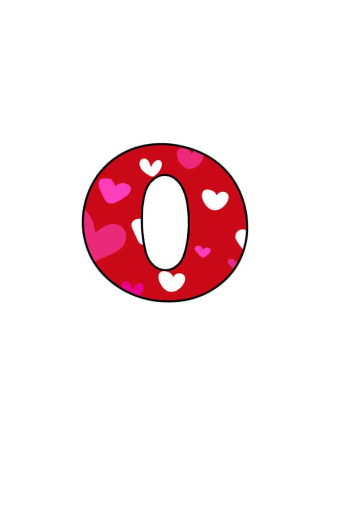 Free Printable Colorful Bubble Letters Valentine bubble letter O