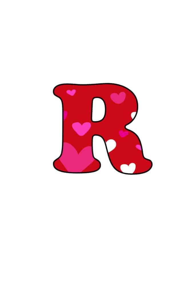 Free Printable Colorful Bubble Letters Valentine Bubble Letter R