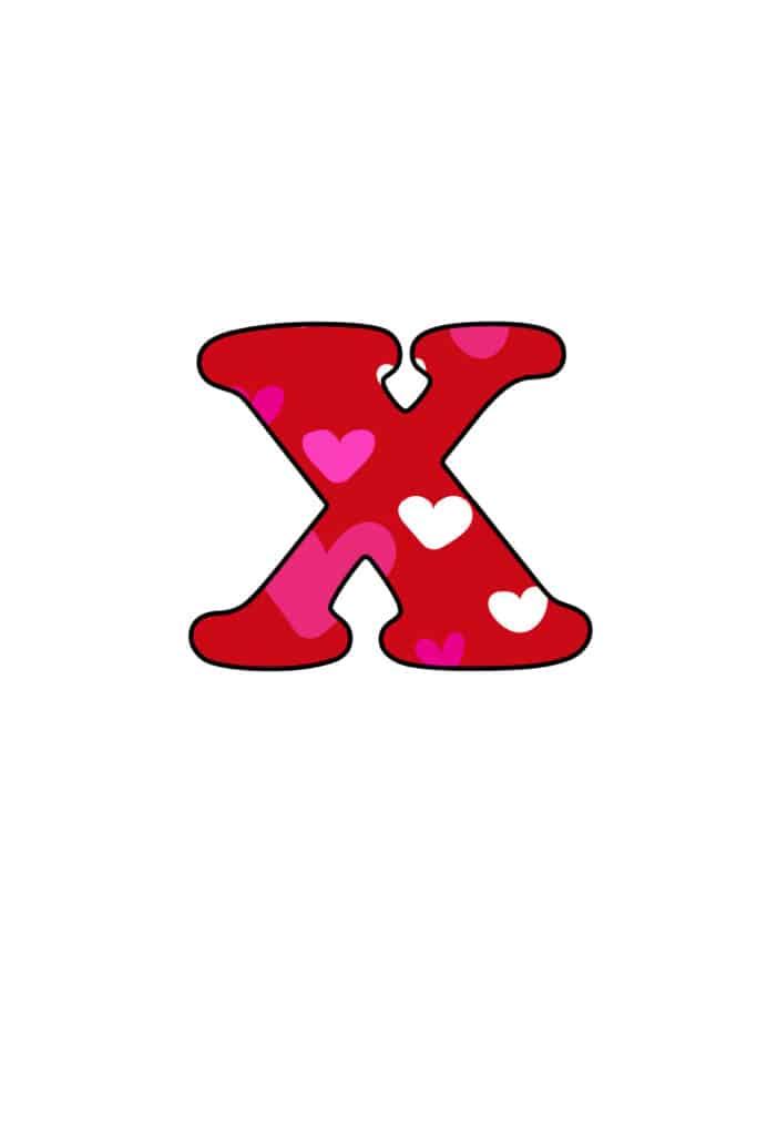 Free Printable Colorful Bubble Letters Valentine Bubble Letter X