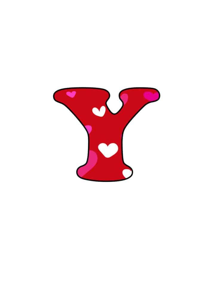 Free Printable Colorful Bubble Letters Valentine Bubble Letter Y
