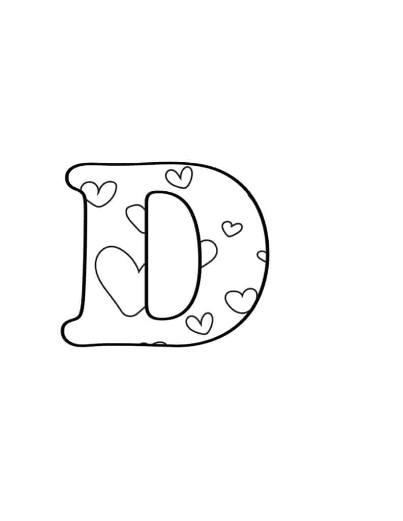 Free Printable Valentine Bubble Letters Bubble Letter D