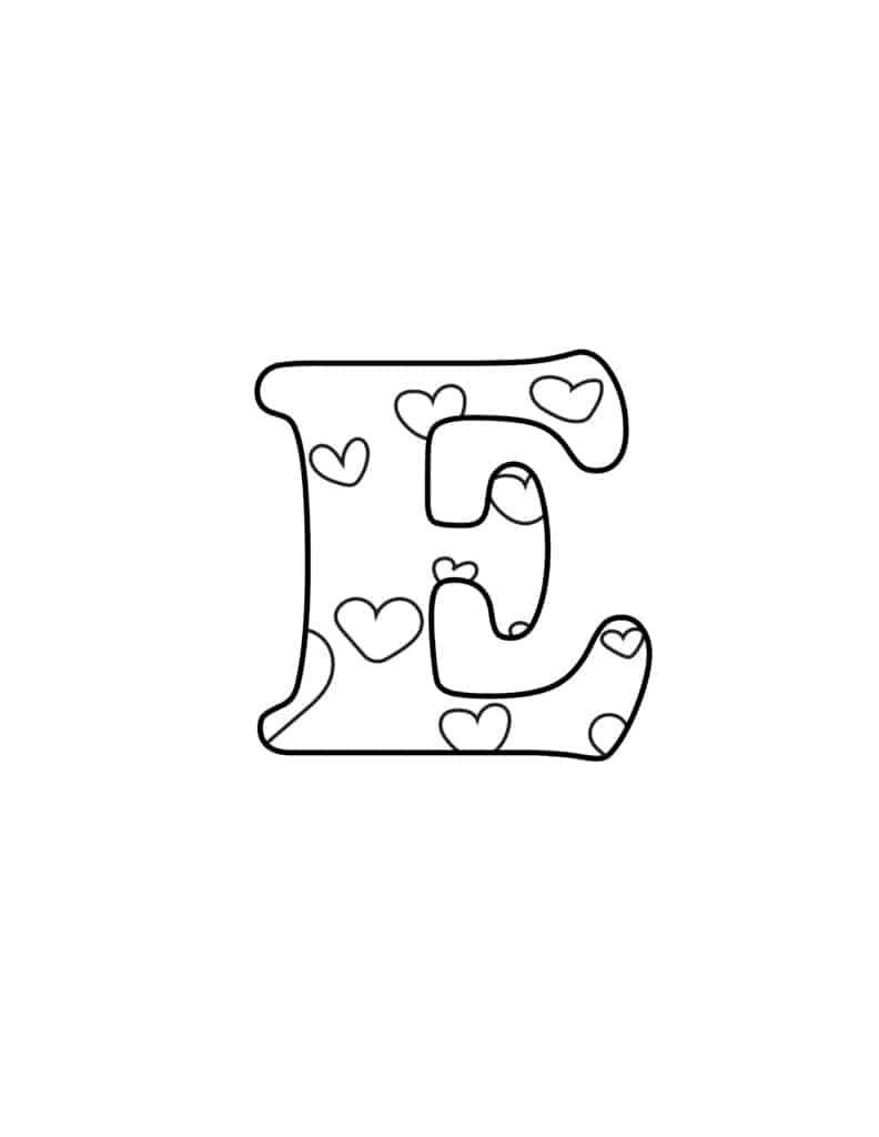 Free Printable Valentine Bubble Letters Bubble Letter E
