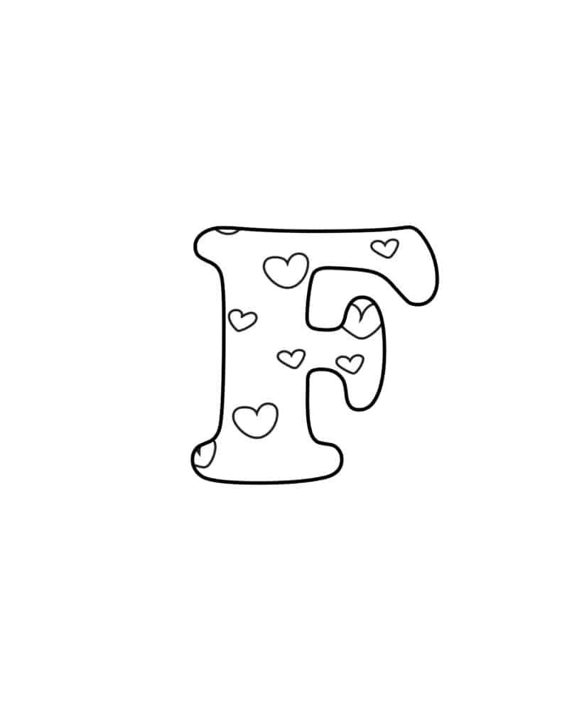 Free Printable Valentine Bubble Letters Bubble Letter F