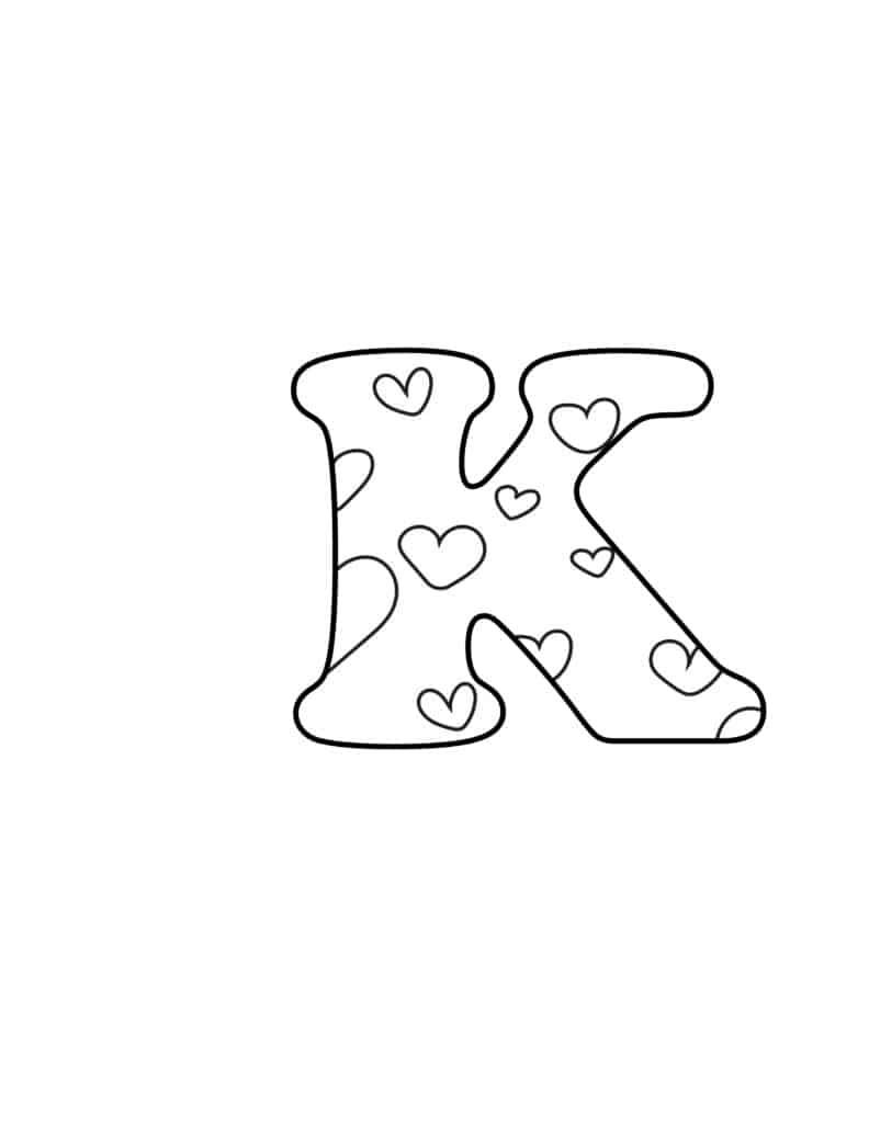Free Printable Valentine Bubble Letters Bubble Letter K