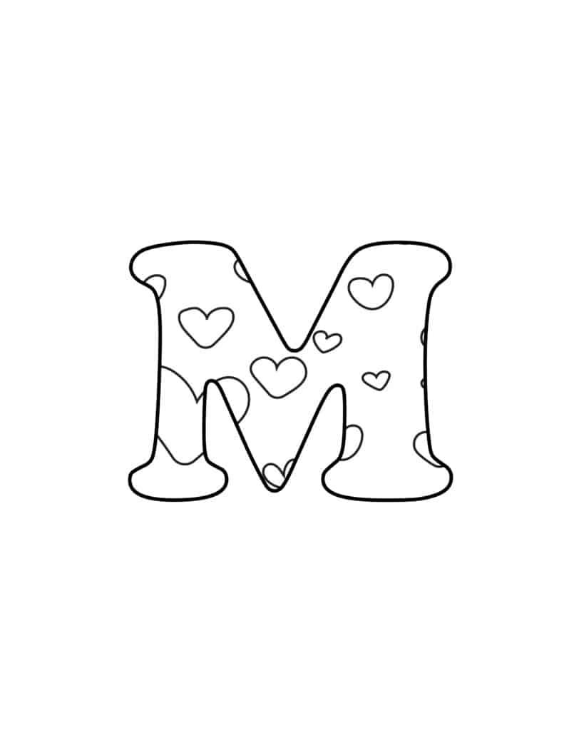 Free Printable Valentine Bubble Letters Bubble Letter M