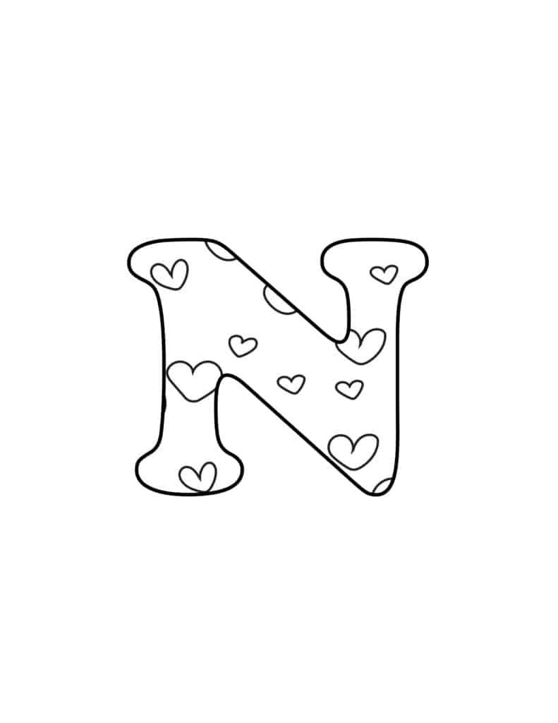 Free Printable Valentine Bubble Letters Bubble Letter N