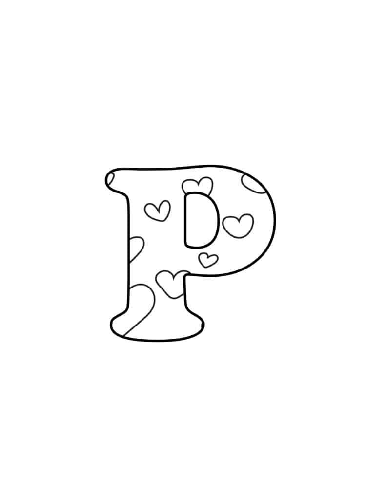 Free Printable Valentine Bubble Letters Bubble Letter P