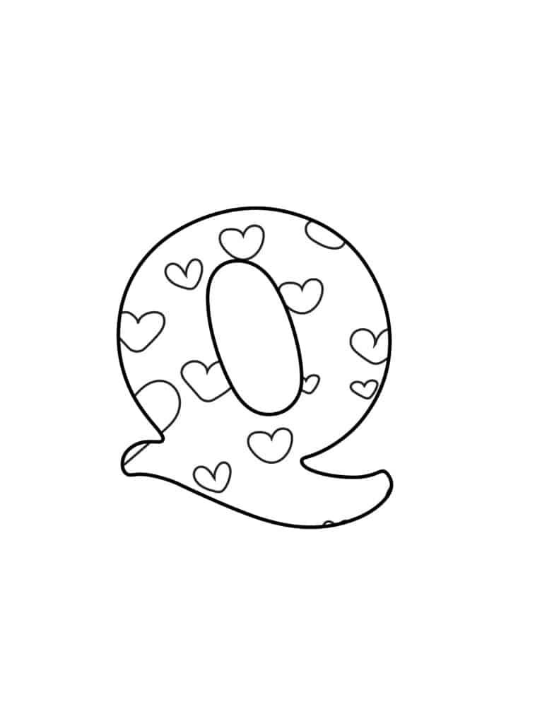 Free Printable Valentine Bubble Letters Bubble Letter Q