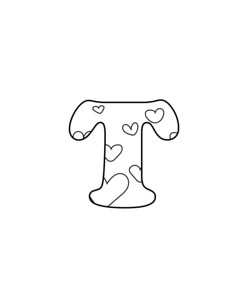 Free Printable Valentine Bubble Letters Bubble Letter T