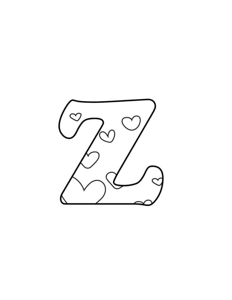 Free Printable Valentine Bubble Letters Bubble Letter Z