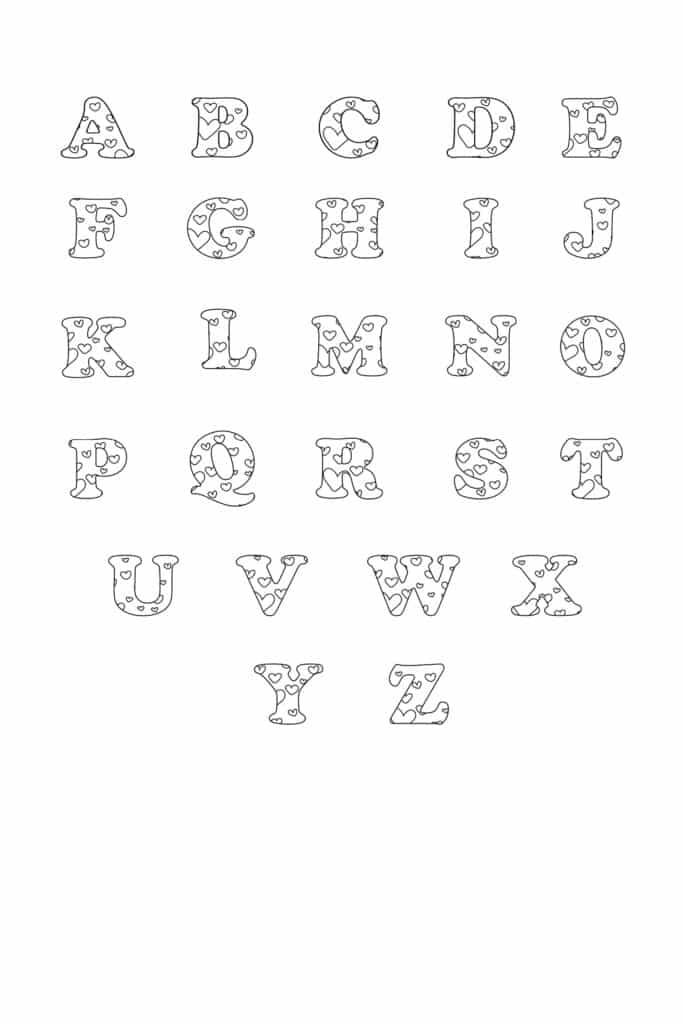 Free Printable Valentine Bubble Letters Bubble Letters Set
